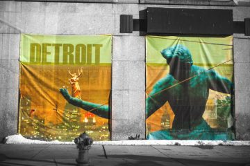 Spirit of Detroit banner. Photo by John Cruz.
