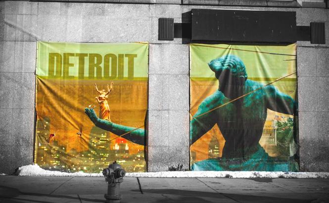 Spirit of Detroit banner. Photo by John Cruz.