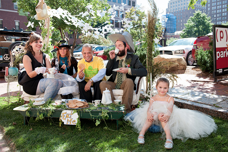 A tea party on parking day 2013 in Hartford Conn. Photo by grhartfordarts on Flickr.