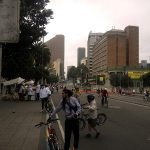 Bogotá: Ciclovia cyclists and food vendors along Carrera 7. Photo by Author.