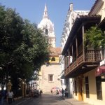 Cartagena: Plaza de Bolivar (left), Cartagena Cathedral (center), and Museo del Oro (right) in Cartagena's Old City. Photo by Author.