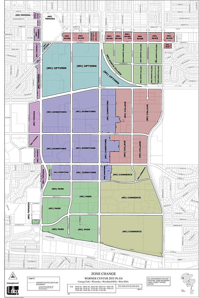 Warner Center 2035 districts from the official master plan. Color added by author.