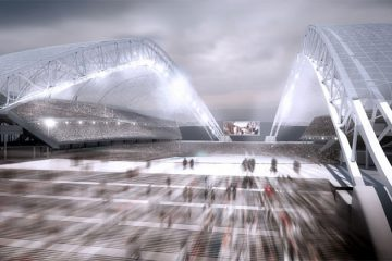 Sochi Olympic Stadium entrance rendering. Image courtesy of populous.com