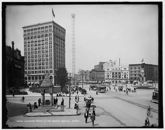 A light tower on Woodward Avenue in Campus Martius. Via Library of Congress.