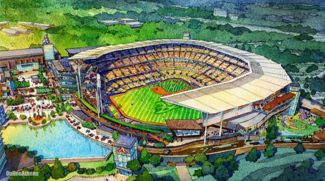 Rendering of the Atlanta Braves' new Cobb County Stadium
